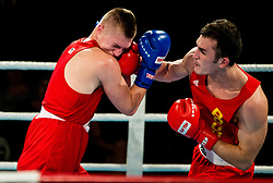 Luka Mejac of Slovenia (BLUE) fights against Islam Aslahanov of Austria (RED) in Elite 81 kg Category  during Dejan Zavec Boxing Gala event in Sentilj, on September 30, 2017 in Mond, Casino & Hotel, Sentilj, Slovenia. Photo by Vid Ponikvar / Sportida