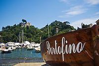 Small boat in harbour, Portofino, Italy