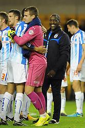 Huddersfield Town Manager, Chris Powell smiles - Photo mandatory by-line: Dougie Allward/JMP - Mobile: 07966 386802 - 01/10/2014 - SPORT - Football - Wolverhampton - Molineux Stadium - Wolverhampton Wonderers v Huddersfield Town - Sky Bet Championship