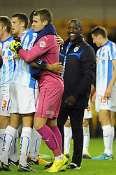 Huddersfield Town Manager, Chris Powell smiles - Photo mandatory by-line: Dougie Allward/JMP - Mobile: 07966 386802 - 01/10/2014 - SPORT - Football - Wolverhampton - Molineux Stadium - Wolverhampton Wonderers v Huddersfield Town - Sky Bet Championship