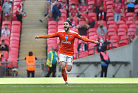 Blackpool's Luke Garbutt celebrates at the final whistle<br /> <br /> Photographer Rob Newell/CameraSport<br /> <br /> The EFL Sky Bet League One Play-Off Final - Blackpool v Lincoln City - Sunday 30th May 2021 - Wembley Stadium - London<br /> <br /> World Copyright © 2021 CameraSport. All rights reserved. 43 Linden Ave. Countesthorpe. Leicester. England. LE8 5PG - Tel: +44 (0) 116 277 4147 - admin@camerasport.com - www.camerasport.com