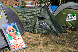 London, UK. 16 July, 2019. The climate camp prepared by climate activists from Extinction Rebellion on Waterloo Millennium Green as a base for their 'Summer uprising', a series of events intended to apply pressure on local and central government to address the climate and biodiversity crisis. Credit: Mark Kerrison/Alamy Live News