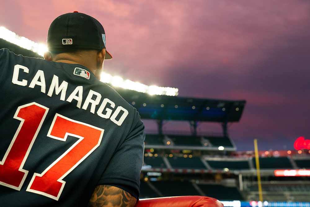 Johan Camargo stands in the dugout during Braves v. Reds exhibition game on Monday, March 25, 2018 at SunTrust Park. The Braves won 8-5. Photo by Kevin D. Liles/Atlanta Braves