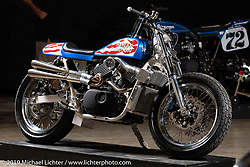 Evel XG, a supercharged Harley-Davidson Street 750 Evel Knievel tribute bike by Colin Cornberg of Number 8 Wire Motorcycles in Philipsburg, MT on view at the Handbuilt Show. Austin, Texas USA. Friday, April 12, 2019. Photography ©2019 Michael Lichter.