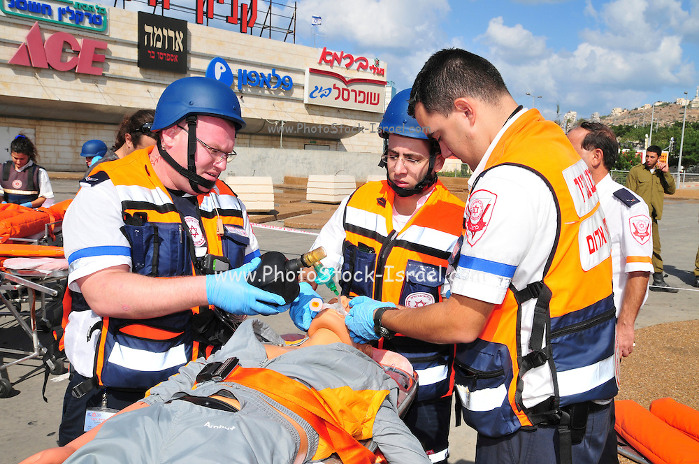 Israel, Haifa Israeli security forces and rescue personel attend an exercise simulating a terror attack at the Haifa Mall November 3, 2009. Wounded being treated by first aid crew