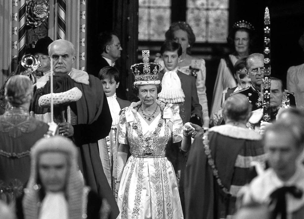 The Queen and Prince Philip at the State Opening of Parliment, London in November 1989. Photograph by Jayne fincher