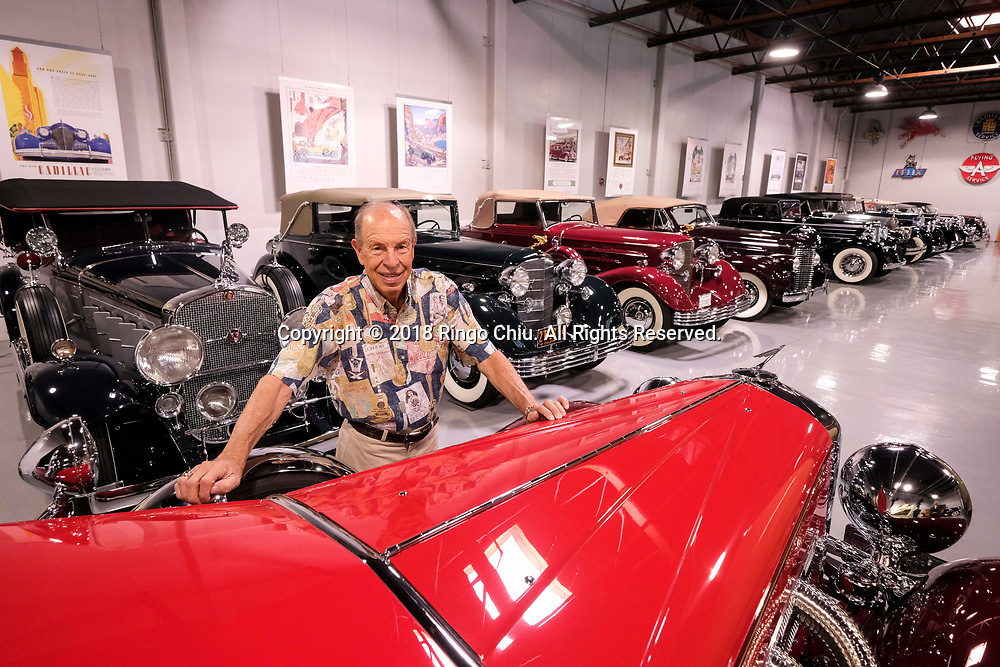 Aaron Weiss, an ultra-wealthy car collector in San Marino,  with his car collection. (Photo by Ringo Chiu)<br /> <br /> Usage Notes: This content is intended for editorial use only. For other uses, additional clearances may be required.