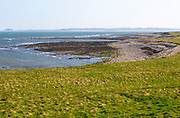Coastline landscape scenery looking south, Holy Island, Lindisfarne, Northumberland, England, UK