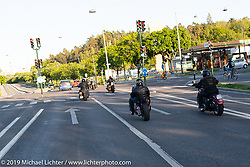 Plebs MC members ride out from the clubhouse near Stockholm, Sweden. Friday, May 31, 2019. Photography ©2019 Michael Lichter.