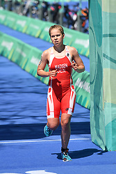 BUENOS AIRES, Oct. 8, 2018  Sif Bendix Madsen of Denmark reaches the finish line during the Women's Triathlon match at the 2018 Summer Youth Olympic Games in Buenos Aires, capital of Argentina, Oct. 7, 2018. Sif Bendix Madsen won the silver with 58 minutes and 56 seconds. (Credit Image: © Li Jundong/Xinhua via ZUMA Wire)