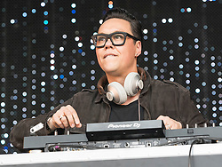 Gok Wan entertains the crowd performing at Party At The Palace Music Festival in Linlithgow Palace grounds on Sunday 14th August 2016.<br /> <br /> Alan Rennie/ EEm