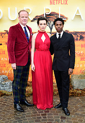 Alastair Petrie, Emma Mackey and Kedar Williams-Stirling attending the global premiere of Netflix's Our Planet, held at the Natural History Museum, London.