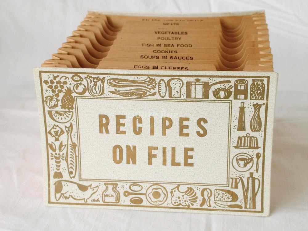 old antique kitchen recipes on file folder