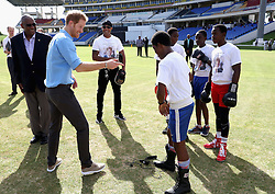 Prince Harry attends a youth sports festival at the Sir Vivian Richards Stadium in North Sound, Antigua, on the second day of his tour of the Caribbean.