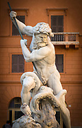 The statue of Neptune, by Antonio Della Bitta, in a Piazza Navona fountain, Rome
