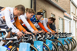 Rabo Liv warm up at Omloop van Borsele Time Trial 2016. A 19.9 km individual time trial starting and finishing in 's-Heerenhoek, Netherlands on 22nd April 2016.