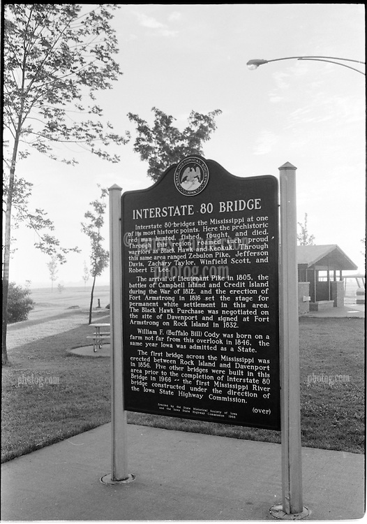 Route 80 Mississippi River Crossing Bridge Sign in Iowa. Heading west in 1973 in the early Morning Mist. B&W Tri-X Film Original.