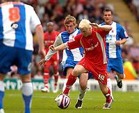 Photo: Ed Godden/Sportsbeat Images.<br /> Leyton Orient v Hartlepool United. Coca Cola League 1. 22/09/2007. Orient's Sean Thornton (R), takes the ball past Gary Liddle.