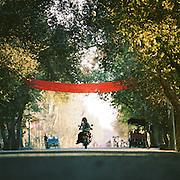 Street scene, Silk Route, Gaochang, Xinjiang Province, China.
