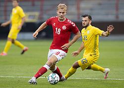 Mads Emil Madsen (Danmark) under U21 EM2021 Kvalifikationskampen mellem Danmark og Ukraine den 4. september 2020 på Aalborg Stadion (Foto: Claus Birch).