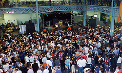 """Chas & Dave <br /> performing live and backstage <br /> at the Great British Beer Festival, Olympia, London, Great Britain <br /> 3rd August 2005 <br /> <br /> Chas & Dave (often billed as Chas 'n' Dave) were a British pop rock duo, formed in London by Chas Hodges and Dave Peacock. They were most notable as creators and performers of a musical style labelled rockney (a portmanteau of rock and cockney), which mixes """"pub singalong, music-hall humour, boogie-woogie piano and pre-Beatles rock 'n' roll""""<br /> <br /> Photograph by Elliott Franks"""