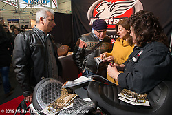 Mr. Martini Friday night party celebrating the opening of his bar / restaurant at the workshop during the Motor Bike Expo. Verona, Italy. January 23, 2016.  Photography ©2016 Michael Lichter.