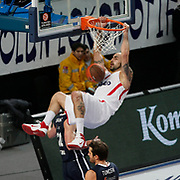 Olympiacos's Pero Antic during their Turkish Airlines Euroleague Basketball Top 16 Group E Game 4 match Anadolu Efes between Olympiacos at Sinan Erdem Arena in Istanbul, Turkey, Wednesday, February 08, 2012. Photo by TURKPIX