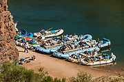 Rafts moored at Deer Creek Falls in Grand Canyon National Park, Arizona, USA. Starting at River Mile 134.5, a portion of our party disembarked our rafts for a hike one way up beautiful Tapeats Creek Trail to the wondrous Thunder Spring and River, across remote Surprise Valley Trail, then down Deer Creek Trail to meet others of our group at The Patio and Deer Creek Falls at River Mile 136.9. This scenic one-way traverse was 8 miles with 2300 feet gain (measured by my smartphone GPS app). Day 10 of 16 days rafting 226 miles down the Colorado River in Grand Canyon National Park, Arizona, USA.