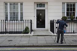 © licensed to London News Pictures. London, UK 08/04/2013. Margaret Thatcher's London house pictured after she died on Monday 08 April 2013. Photo credit: Tolga Akmen/LNP