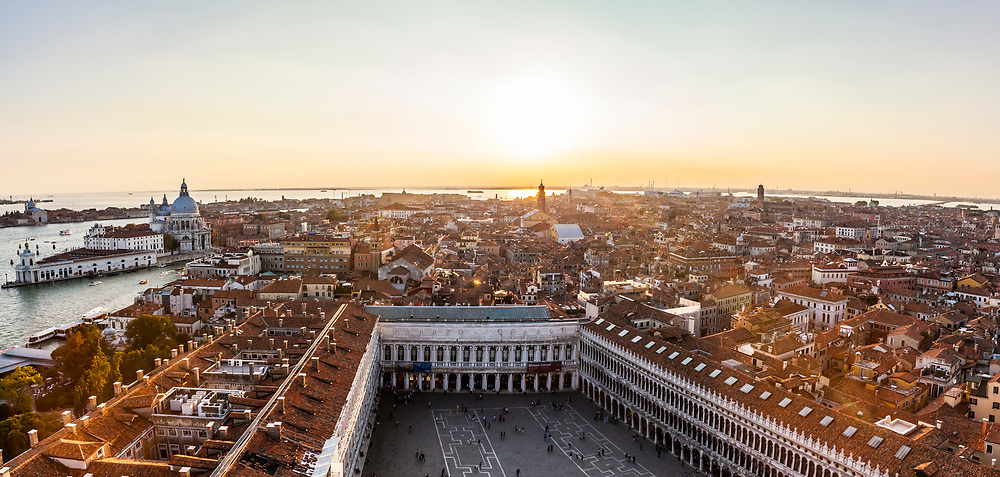 Sunset view of Venice and San Marcos Square from St Marks Campanile. Italy.