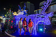 17 DECEMBER 2014 - BANGKOK, THAILAND:  Women pose for photos in front of an illuminated reindeer at the Christmas display in front of Central World in Bangkok. Thailand is overwhelmingly Buddhist. Christmas is not a legal holiday in Thailand, but Christmas has become an important commercial holiday in Thailand, especially in Bangkok and communities with a large expatriate population.   PHOTO BY JACK KURTZ
