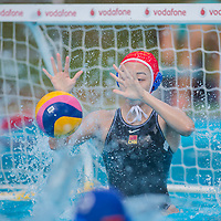 Goalkeeper Yang Jun of China saves a goal during the women waterpolo friendly match of Hungary and China in Tatabanya, Hungary on June 23, 2012. ATTILA VOLGYI