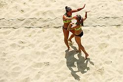 Nina Kontrec and Mojca Pene celebrates during Beach Volleyball Slovenian National Championship 2016, on July 23, 2016 in Kranj, Slovenia. Photo by Matic Klansek Velej / Sportida