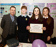 24/11/2019 repro free:<br />  Paul Mee  Chairman Galway Science and Technology Festival with   Samuel Regan, Niah McCarthy and Aibhe Regan from Presentation college Athenry at the Galway Science and Technology Festival  at NUI Galway where over 20,000 people attended exhibition stands  from schools to Multinational Companies . Photo:Andrew Downes, xposure