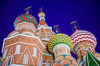 Architechtural detail of domes in St. Basil's Cathedral in Moscow at night