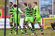 Forest Green Rovers Dale Bennett(2) celebrates Forest Green Rovers Christian Doidge(9) winning goal 1-2 during the EFL Sky Bet League 2 match between Stevenage and Forest Green Rovers at the Lamex Stadium, Stevenage, England on 21 October 2017. Photo by Adam Rivers.
