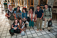 Backpackers from various countries pause for a photo as they check out of the Al Rabie Hotel in Damascus, Syria.<br /><br />(June 15, 2010)