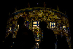 October 6, 2018 - People can be seen in front of the illuminated Bode-Museum during the 14. Festival of Lights in Berlin. Artful displays can be seen on landmarks and buildings across the city through the use of illuminations, luministic projections and 3D mapping. (Credit Image: © Jan Scheunert/ZUMA Wire)