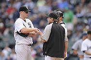CHICAGO - SEPTEMBER 29:  Gavin Floyd #34 of the Chicago White Sox talks to pitching coach Don Cooper during the game against the Detroit Tigers at U.S. Cellular Field in Chicago, Illinois on September 29, 2008.  The White Sox defeated the Tigers 8-2.  (Photo by Ron Vesely)