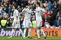 27.01.2013 SPAIN -  La Liga 12/13 Matchday 21th  match played between Real Madrid CF vs Getafe C.F. (4-0) at Santiago Bernabeu stadium. The picture show  Cristiano Ronaldo (Portuguese forward of Real Madrid) and  Sergio Ramos (Spanish defender of Real Madrid)
