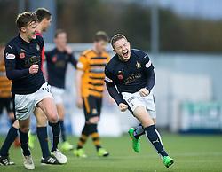 Falkirk's John Baird cele scoring their third goal. <br /> half time : Falkirk 3 v 0 Alloa Athletic, Scottish Championship game played at The Falkirk Stadium.