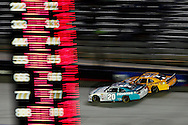Aug 21, 2015; Bristol, TN, USA; NASCAR Xfinity Series driver Denny Hamlin (20) and John Wes Townley (25) during the Food City 300 at Bristol Motor Speedway. Mandatory Credit: Peter Casey-USA TODAY Sports