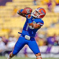 Oct 12, 2013; Baton Rouge, LA, USA; Florida Gators defensive back Vernon Hargreaves III (1) in warm ups prior to a game against the LSU Tigers at Tiger Stadium. Mandatory Credit: Derick E. Hingle-USA TODAY Sports