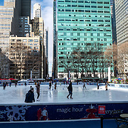 The Bryant Park ice skating rink has some visitors as streets remain sparse to both visitors and traffic during the Coronavirus (Covid-19) pandemic on Tuesday, January 19, 2021 in Manhattan, New York. (Alex Menendez via AP)