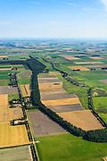 Nederland, Noordoostpolder, Schokland, 27-08-2013. Dorp en voormalig eiland in de Zuiderzee, gezien vanuit het Zuiden. Onderdeel van de UNESCO Werelderfgoedlijst. <br /> Het verlagen van de grondwaterspiegel in de Noordoostpolder leidt tot inklinking waardoor het eiland steeds lager komt te liggen. Om verder wegzinken te voorkomen een hydrologische zone aangelegd<br /> Village and former island, seen from the south. Part of the UNESCO World Heritage List.<br /> The center is the Reformed Church. Lowering the groundwater level in the Noordoostpolder leads to subsidence and causes the island the sink away. In order to prevent further decline a hydrological zone has been created.<br /> luchtfoto (toeslag op standaard tarieven);<br /> aerial photo (additional fee required);<br /> copyright foto/photo Siebe Swart.