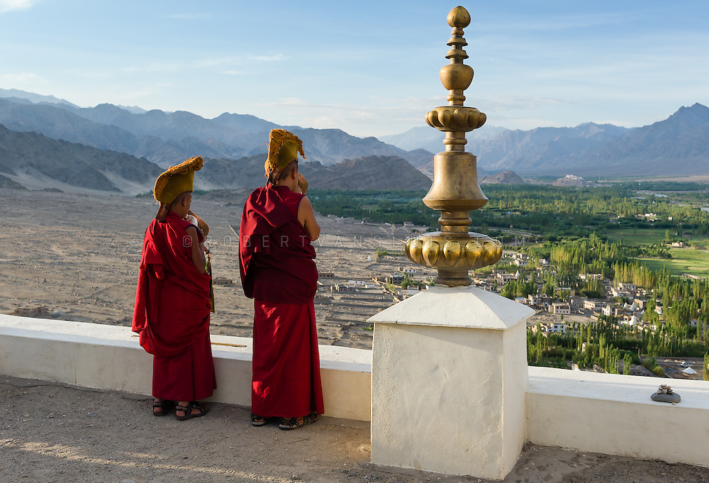 Monks blowing conch shell horns as a call to morning prayer from the roof of Thiksey Monastery, Ladakh, India