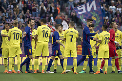 May 9, 2018 - Barcelona, Catalonia, Spain - The Villarreal players pay homage to the FC Barcelona players for their victories in the Cup and in the League prior the spanish football league La Liga match between FC Barcelona and Villarreal at the Camp Nou Stadium in Barcelona, Catalonia, Spain on May 9, 2018  (Credit Image: © Miquel Llop/NurPhoto via ZUMA Press)