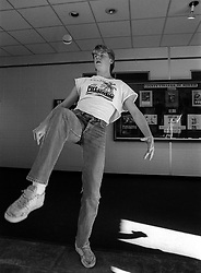 An unidentified student at County College of Morris hones his foot bag skills on campus, Wednesday, Feb. 4, 1987 in Randolph, N.J. (D. Ross Cameron/North Jersey Advance)