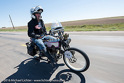Scott Byrd of Arkansas riding his 1916 Harley-Davidson through the eastern plains of Colorado during the Motorcycle Cannonball Race of the Century. Stage-9 Dodge City, KS to Pueblo, CO. USA. Monday September 19, 2016. Photography ©2016 Michael Lichter