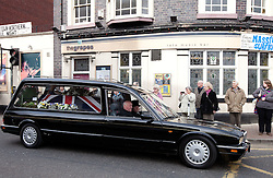 © licensed to London News Pictures. Stafford, UK  17/03/2012. The funeral of PC David Rathband. The funeral courtege passes PC Rathband's favoured pub in Stafford, The Grapes, in the town centre, on the way to the funeral. Photo credit should read Joel Goodman/LNP